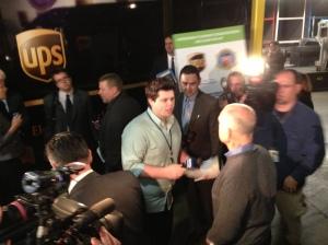 Matt Schrader interviews Jerry Brown at a news conference Feb. 6, 2013.