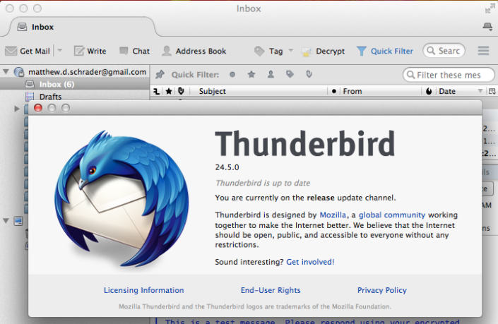 For this tutorial, I'm using the latest release of Thunderbird on Mac OS X. It is also available for Windows and Linux.